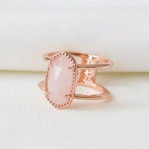 """Kendra Scott """"Elyse"""" Size 7 Rose Quartz Bar Ring"""